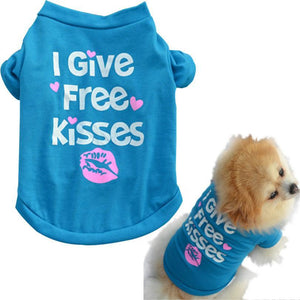 """I give free kisses"" Pet T-Shirt clothes PetsWheel"