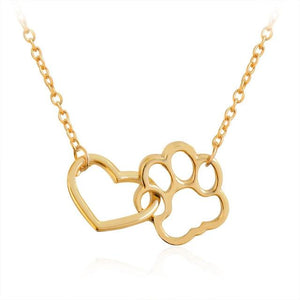 Pet Paw+Heart Necklace necklace PetsWheel Gold