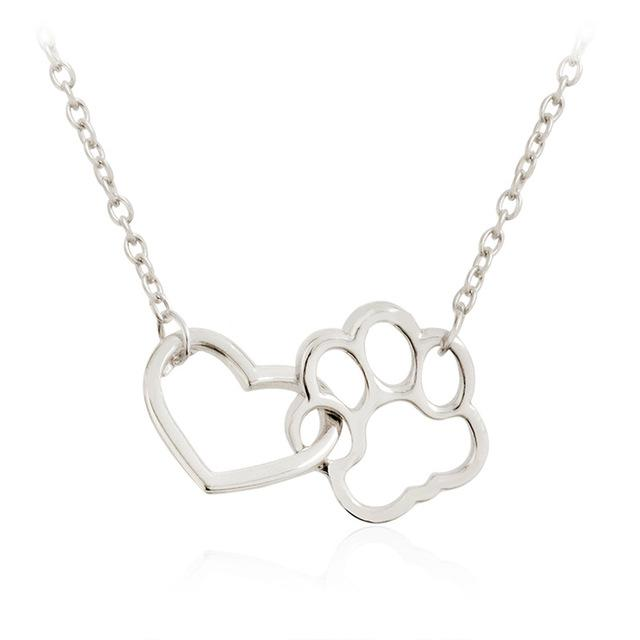 Pet Paw+Heart Necklace necklace PetsWheel Silver