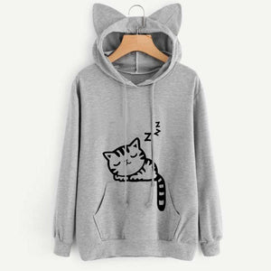 Sleeping Kitty Hoodie clothes PetsWheel Gray S