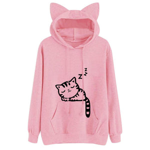 Sleeping Kitty Hoodie clothes PetsWheel Pink L