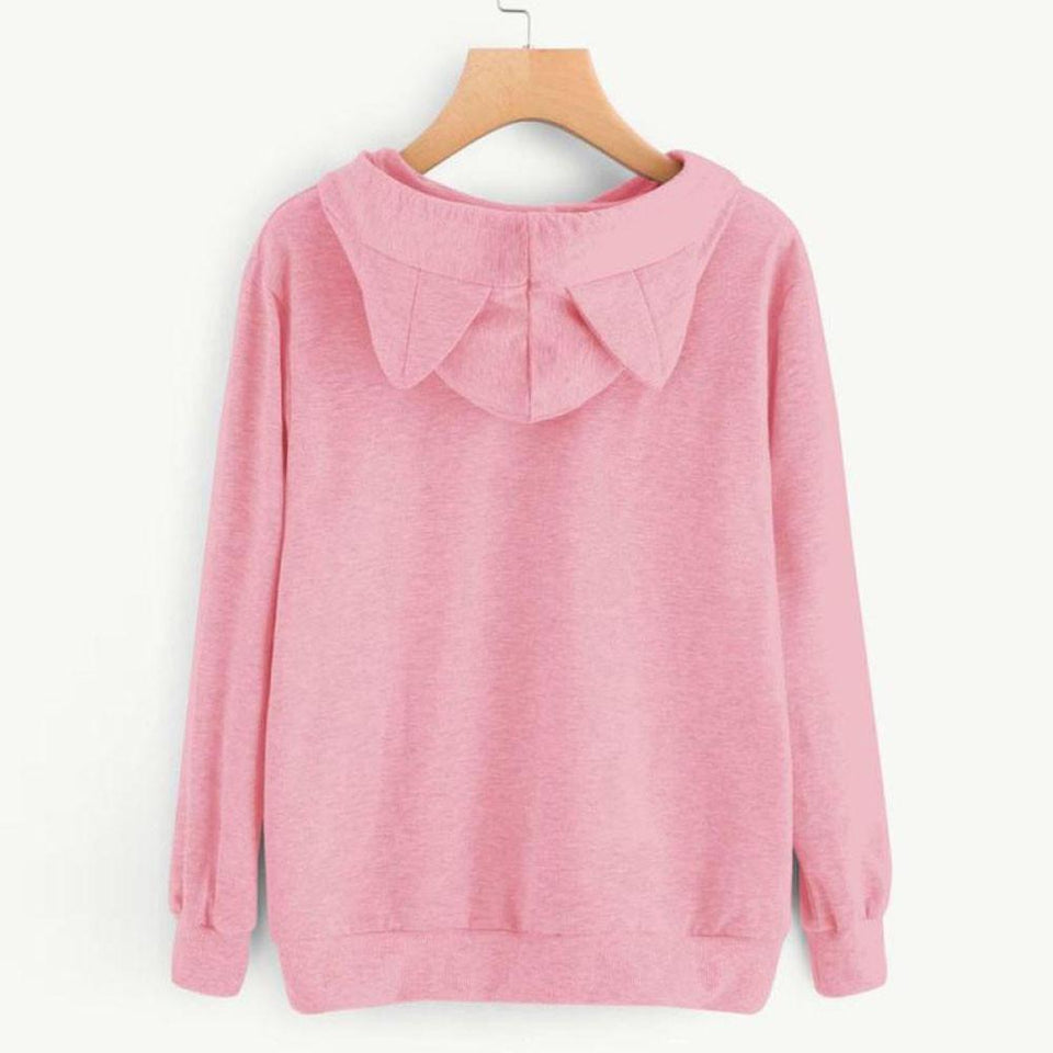 Sleeping Kitty Hoodie clothes PetsWheel Pink M