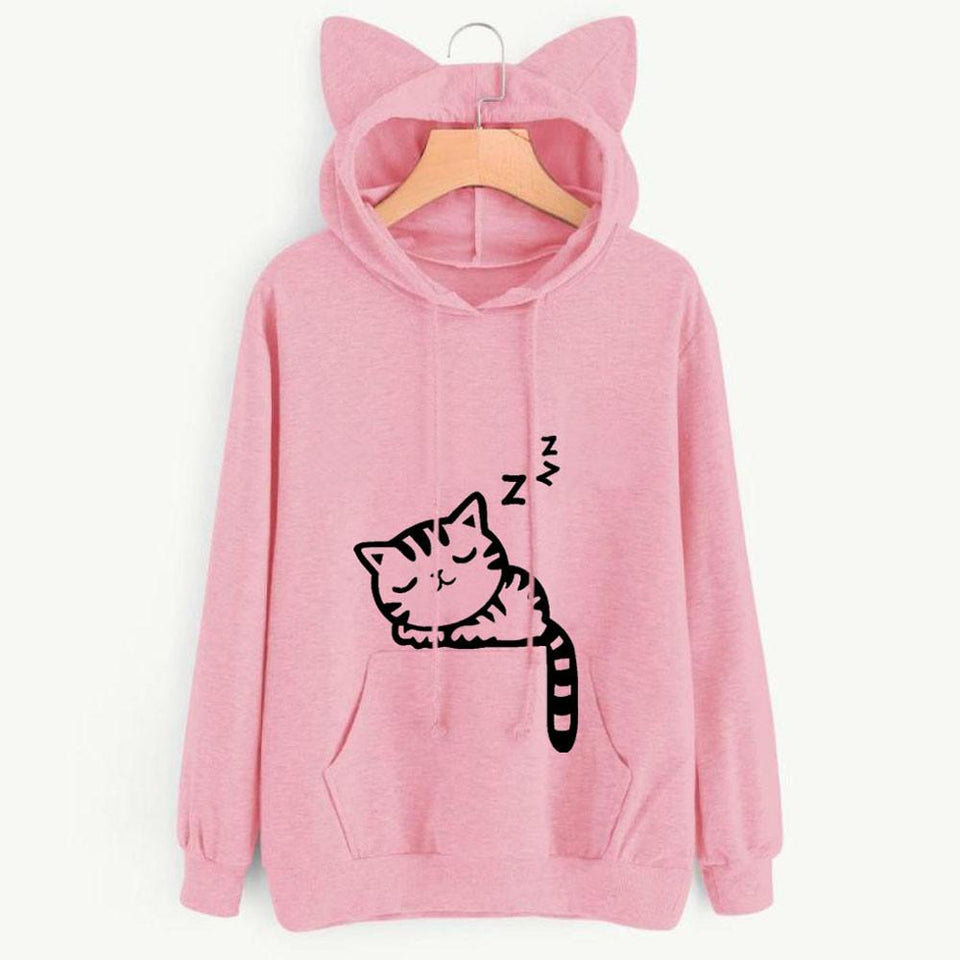 Sleeping Kitty Hoodie clothes PetsWheel Pink S