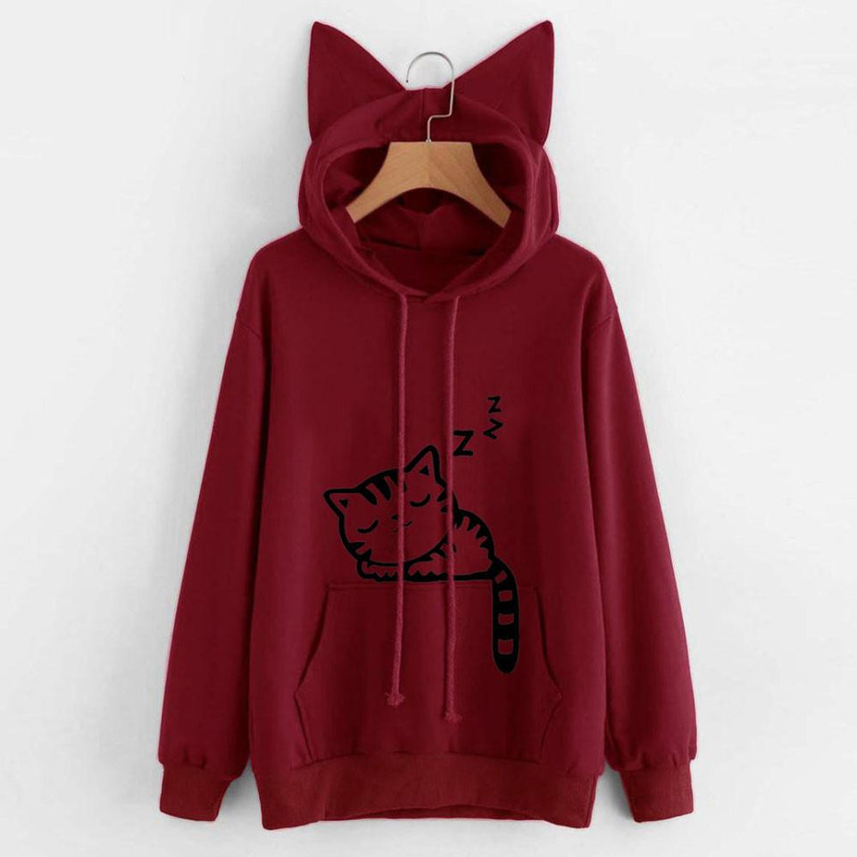 Sleeping Kitty Hoodie clothes PetsWheel Red M
