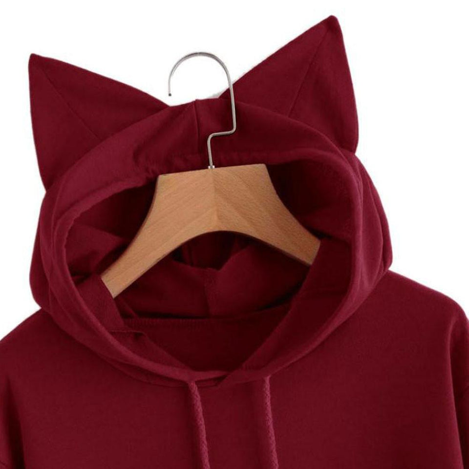 Sleeping Kitty Hoodie clothes PetsWheel Red S