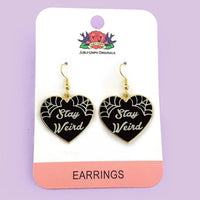 Stay Weird Black Heart Earrings