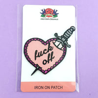 Fuck Off Stiletto Heart Embroidered Patch