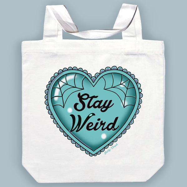 Blue Stay Weird Canvas Tote Bag