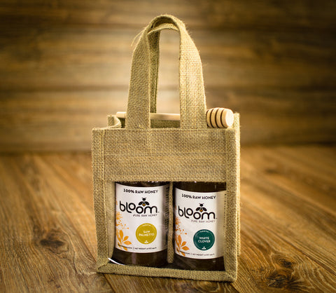 Gift Set of Two 16 oz Jars, Sustainable Bloom Honey Jute Gift Bag & Wooden Honey Dipper