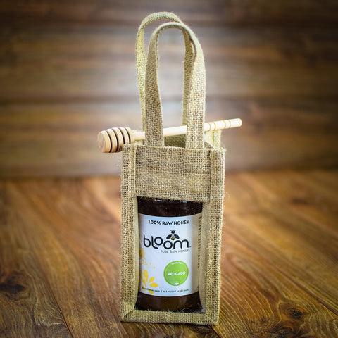 Bloom Honey Gift Set of One 16 oz Jar with Jute Gift bag and Honey dipper