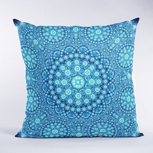 Cellular Star Blue Mandala Pillow
