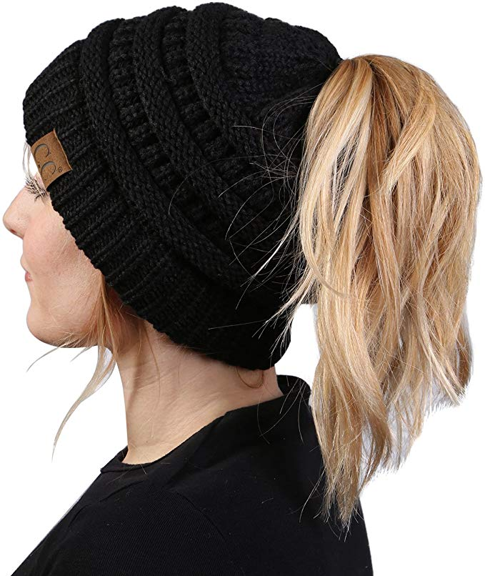 Soft Knit Ponytail Beanie - c