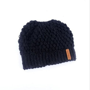Soft Knit Ponytail Beanie - a
