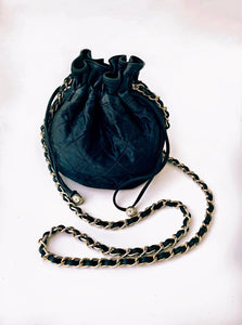 Vintage Chanel Mini Drawstring Quilted Bucket Bag