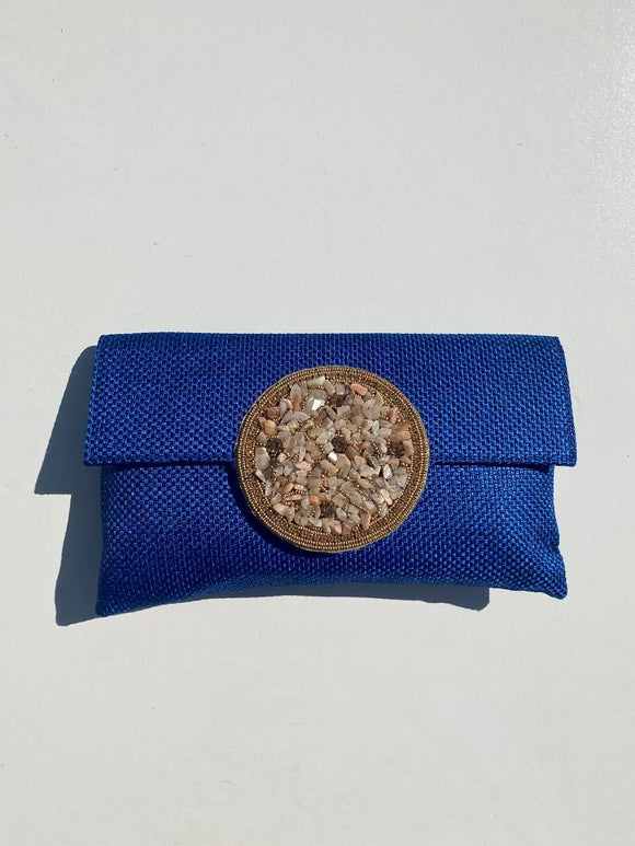 Samser Medallion Clutch in Royal Blue