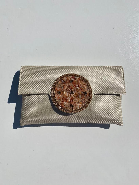 Samser Medallion Clutch in Cream