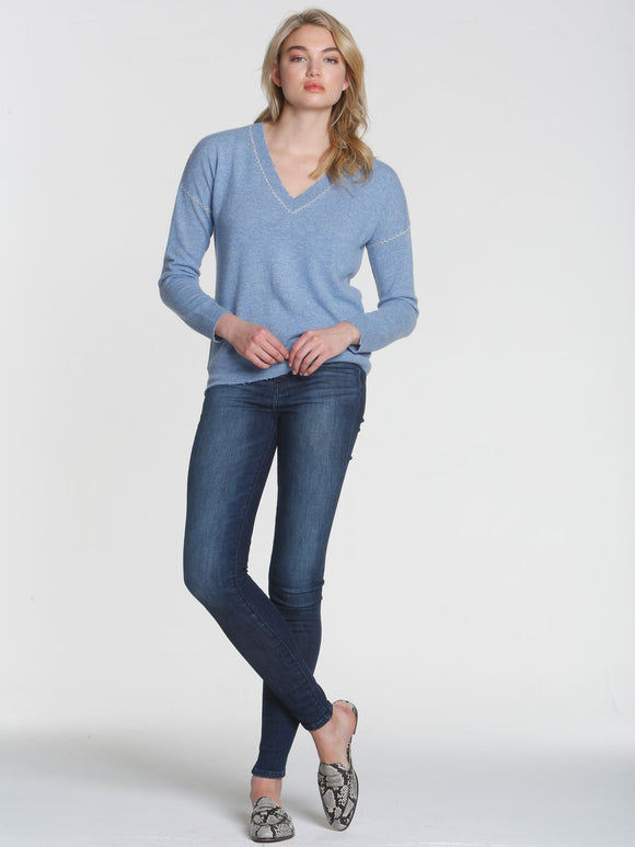 LABEL+thread Luxe Mended V-Neck Cashmere Sweater in Denim