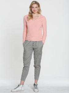 LABEL+thread Ribbed Sunshine Vee Sweater Pink