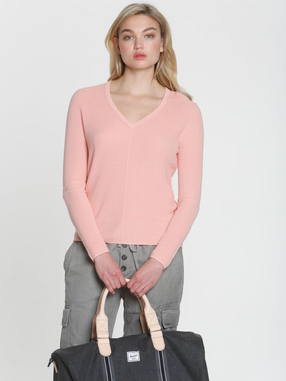 LABEL+thread Ribbed Sunshine V-Neck Cotton Sweater in Sunset