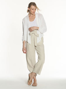 LABEL+thread White Linen Ribbed Relax Cardigan
