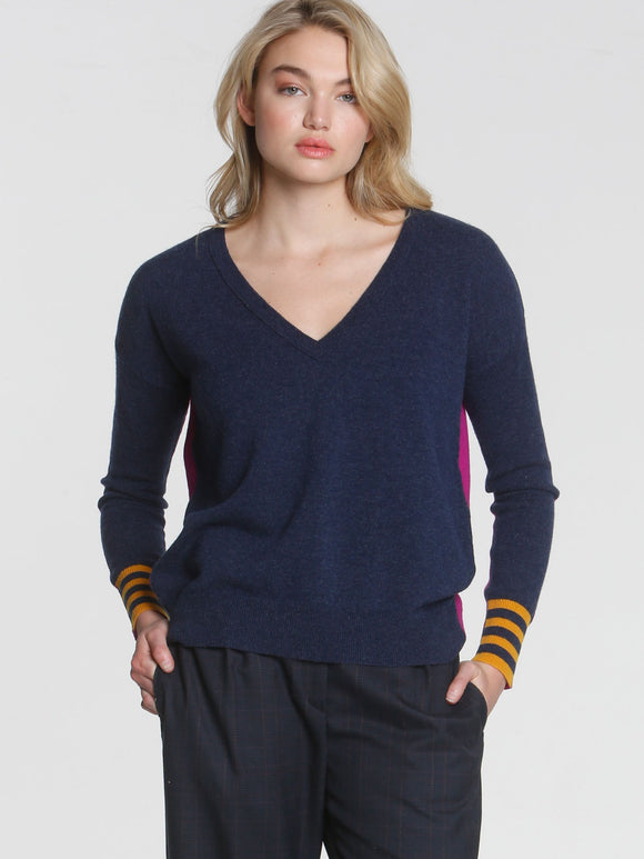 LABEL+thread Half and Half Wool Cashmere V-Neck Sweater Navy