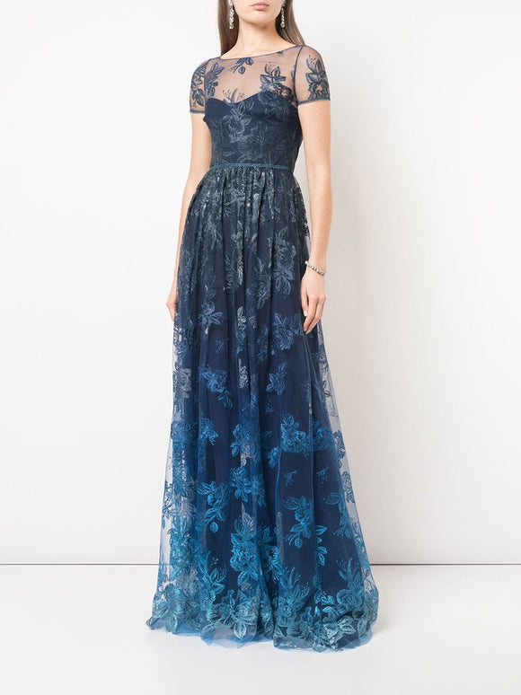 Marchesa Notte Sheer Floral Embroidered Gown