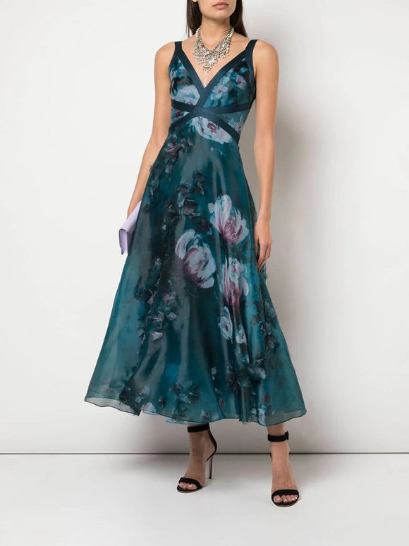 Marchesa Notte V-Neck 3D Floral Printed Dress