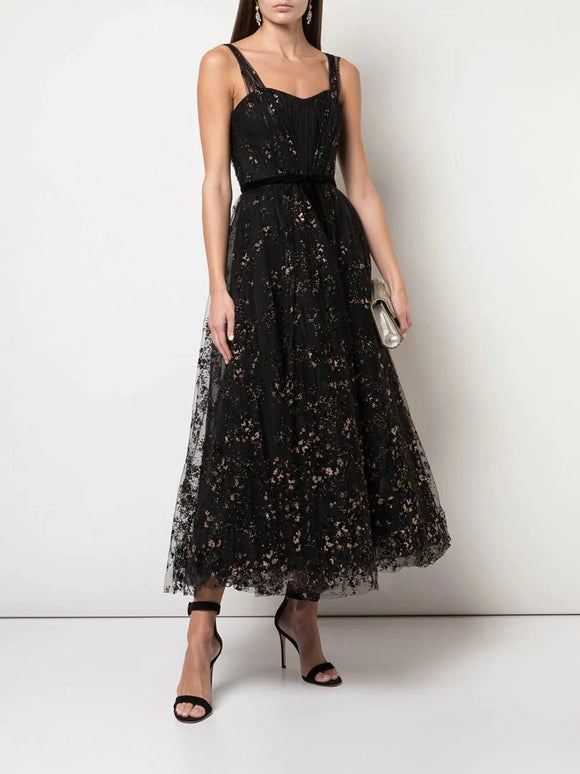 Marchesa Notte Flocked Glitter Tulle Party Dress