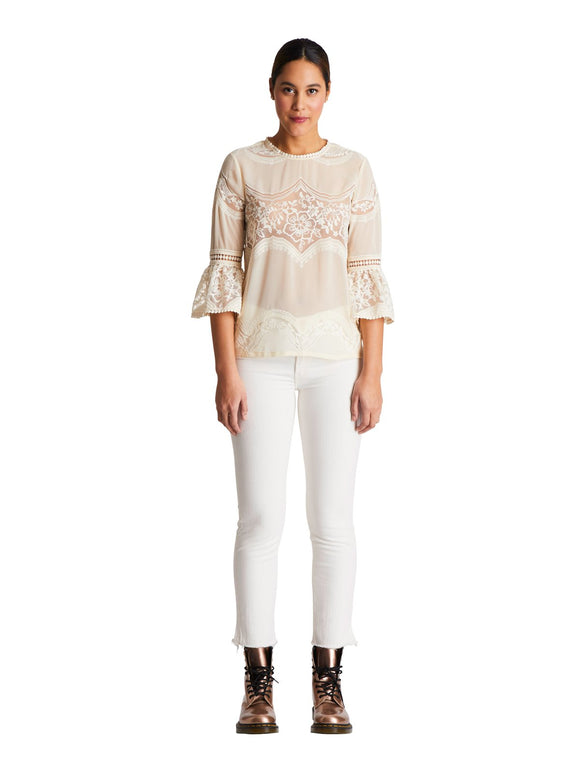 Sui by Anna Sui Victorian Voile Cream Top