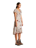 Sui by Anna Sui Malmo Cream Floral Ruffle Dress