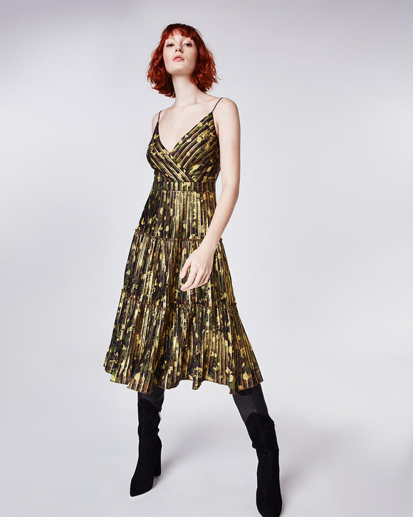 Nicole Miller Foiled Flower Camo Dress