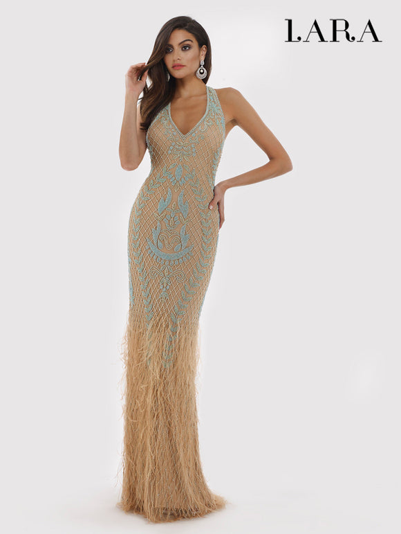 Lara Teal Beaded Feather Gown