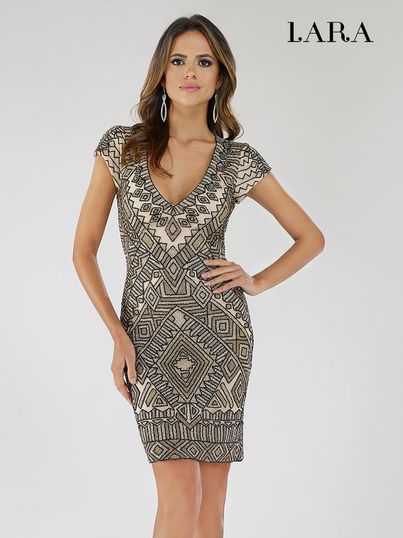 Lara Designs Beaded Open Back Mini Dress