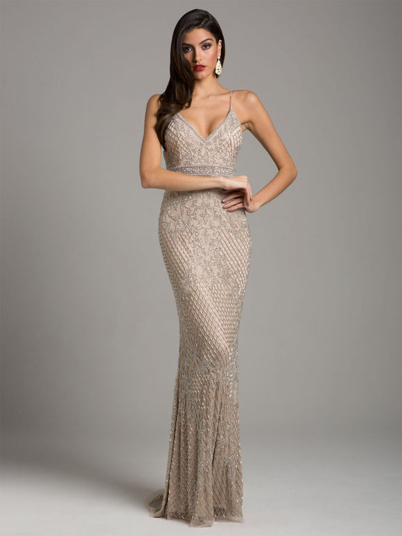 Lara Beaded Sleeveless Column Gown Nude