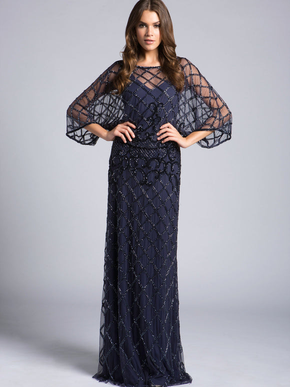 Lara Blouson Beaded Column Gown