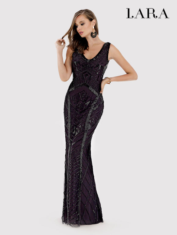 Lara Beaded Column Gown Black