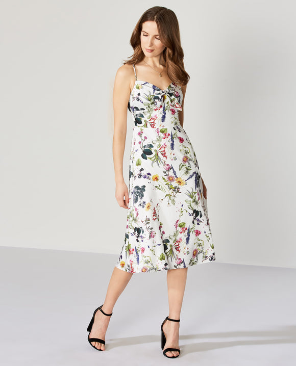 Bailey 44 Puff Pastry Satin Floral Print Dress