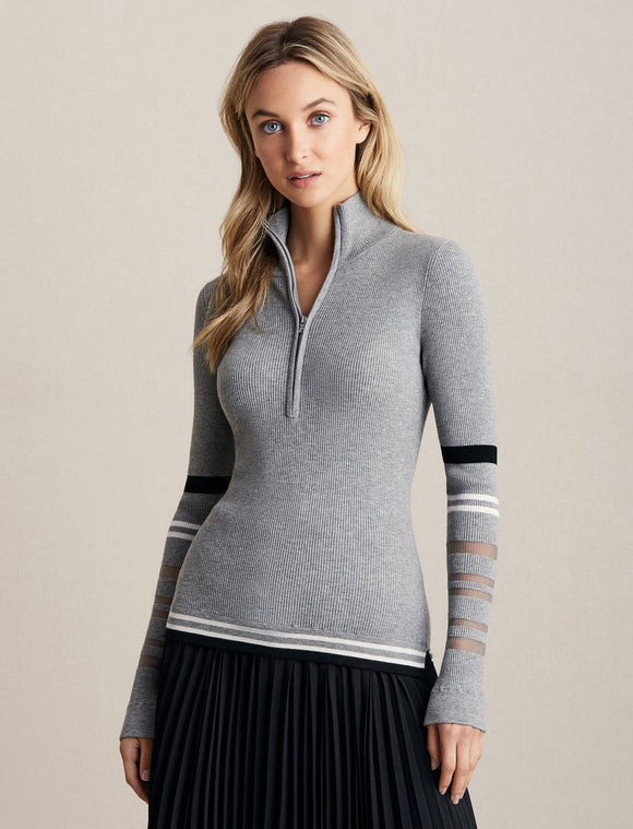 Bailey 44 Pelli Quarter Zip Sweater Grey
