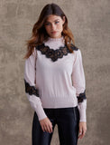 Bailey 44 Flora Lace Detail Sweater Blush