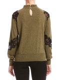 Bailey 44 Flora Lace Detail Sweater Army