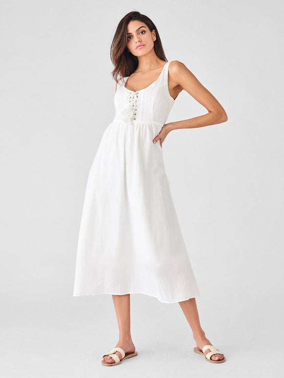 DL1961 Pineapple St White Cotton Midi Dress