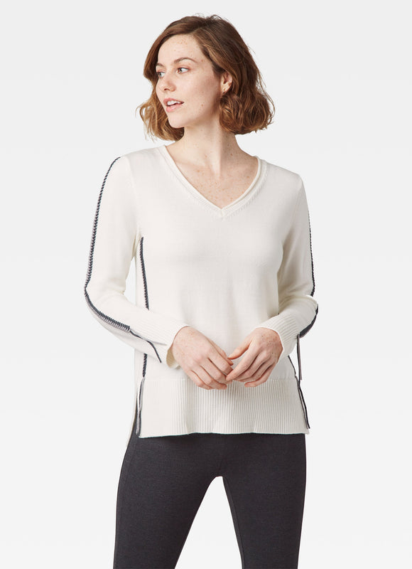 Ecru White V-Neck Sweater with Braid Detail