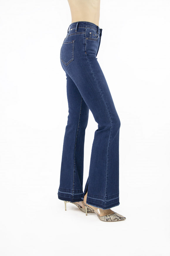 Tractr Jeans High-Rise Flare Hem Dark Wash Jeans