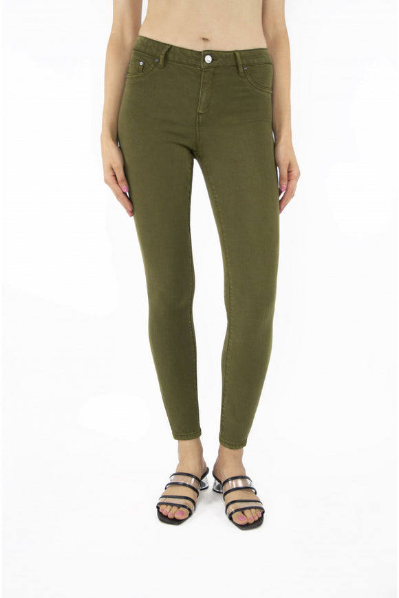 Tractr Nina High Rise Skinny Jeans Military Olive