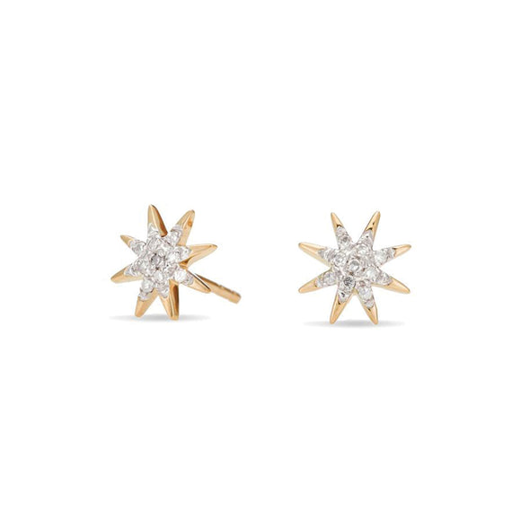 Adina Reyter Solid Pavé Starburst Posts Yellow Gold