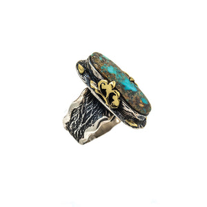 Bora Oblong Turquoise Sterling Silver Ring