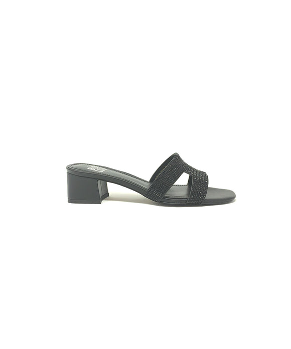 Bibi Lou Black Block Heel Slides Leather