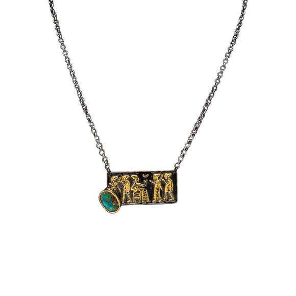 Bora Sterling Silver Turquoise Hieroglyph Bar Necklace
