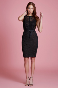 Byron Lars Floral Applique Lace Sheath in Black