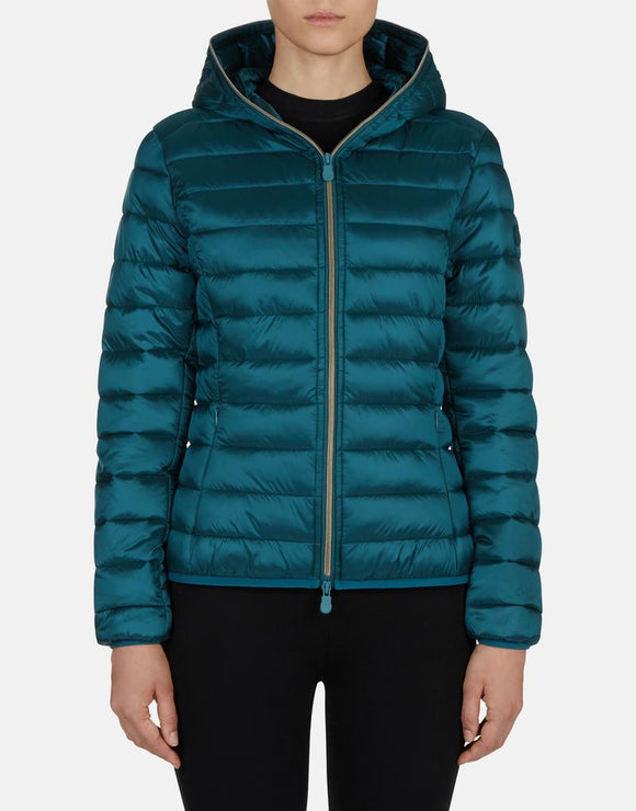 Save the Duck Iris Hooded Faux Down Jacket in Evergreen